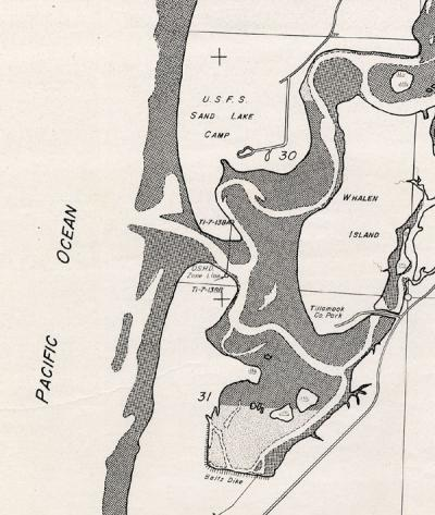 Map of Sand Lake Camp and Whalen Island, Tillamook County, Oregon, 1972.