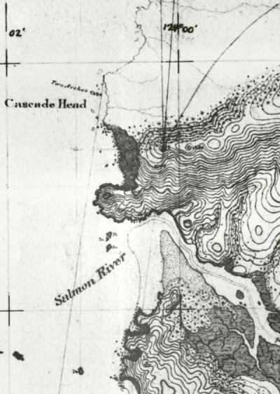 Segment of a topographical map of the Oregon Coast from Yaquina Head to Cascade Head. Originally drawn in 1887.