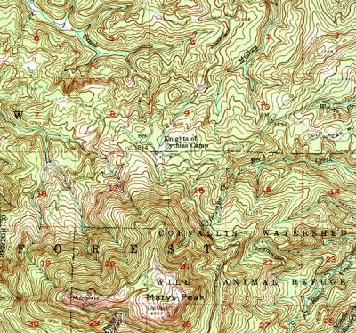 Segment of the Marys Peak Quadrangle topographic map.