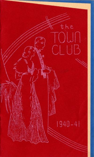 Cover of a pamphlet detailing Town Club events and those who would run them, 1940-1941.