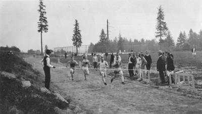 The finish line of an unidentified track and field race, ca. 1920s.