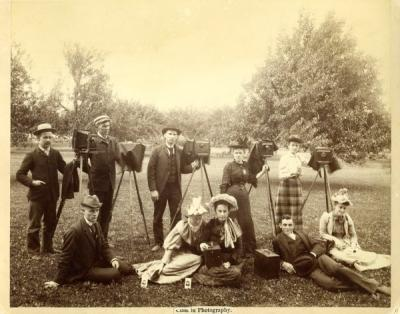 <p>OAC photography class, ca. 1892. Standing (l to r): John Fulton, E. G. Emmett, Homer Lily, unidentified woman, unidentified woman. Seated (l to r): unidentified man, two unidentified women, W. Frank Holman, unidentified</p><p>				woman.</p>