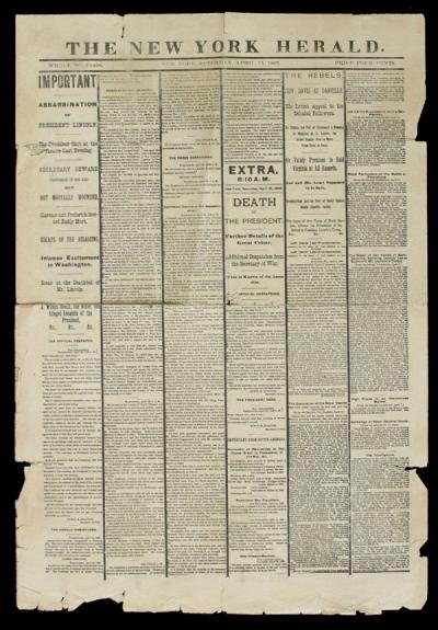 <p>Reproduction of the April 15, 1865 issue of the  reporting the assassination of President</p><p>				Abraham Lincoln.</p>