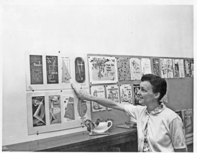 Virginia Taylor, July 1958. Taylor was the Art Director for OSU Press who designed the Beaver Totem in 1962.