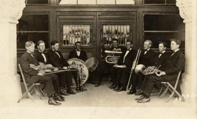The O. A. C. Orchestra, 1909. Utzinger is seated on the left and McGinnes on the right.