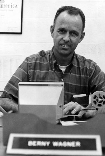 Berny Wagner reviewing film, 1969.