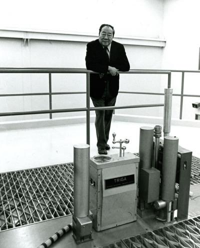 Chih H. Wang posing on top of the TRIGA nuclear reactor, 1971.