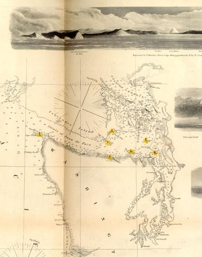 Segment of a map of the Puget Sound, Washington, 1855.