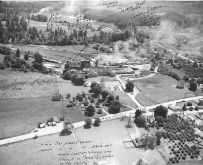 Aerial view of the Crown Zellerbach mill site, 1949.