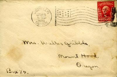Envelope that was paired with the Lottie Wilson letter, January 18, 1908.