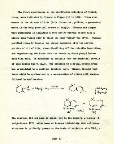 "Page one of ""On the Proof of Structure and Synthesis of Irone,"" a review written by J.M. Witt for  290 (April 1949)."