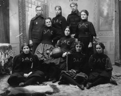 <p>Women's Basketball team, 1898, the first women's team at the college. Team includes Fanny Getty, 2nd back; Dora Hodgins, 2nd forward; Leona Smith, 1st back; Inez Fuller, 1st forward; Blanche Holden, goal thrower; Lillian</p><p>				Ranney, center; Bessie Smith, captain and guard; W.H. Beach, coach; and F. W. Smith, manager.</p>