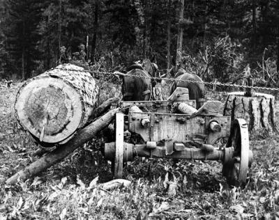 Horse logging in the late 1890s near Bend, Oregon.