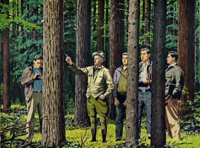 <p>Color reproduction of a painting depicting George Peavy with a group of students, ca. 1955. Painting by Fred Ludekens. The painting of Peavy, made posthumously by the Weyerhauser Timber Company, was used extensively in</p><p>				advertisements in trade journals and the popular press, including .</p>
