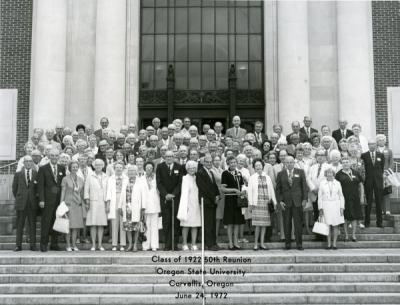 Fiftieth reunion of the Class of 1922. Ralph L. York is located in the second row, seventh from left.