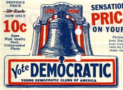Image from a letter addressed to Young Democratic Club Presidents, ca. 1936.
