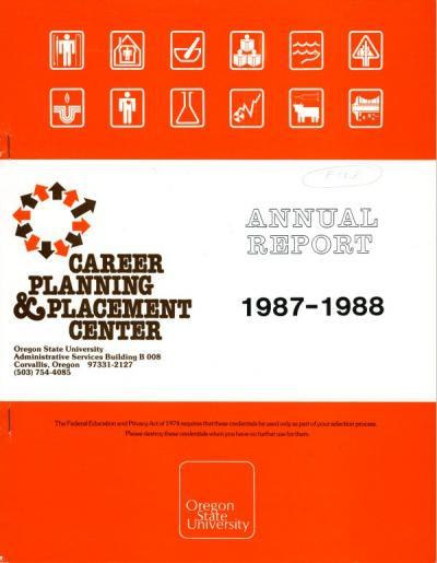 Cover of the Career Planning and Placement Center Annual Report, 1987-1988.