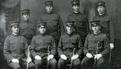 Image from the O.A.C. Cadets 1908-1909 photo book. First Lieutenant Frank Edward Hall is pictured back row, third from left.