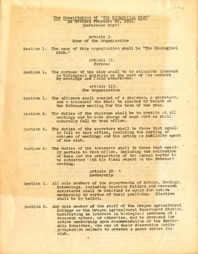OAC Biology Club constitution, 1921.