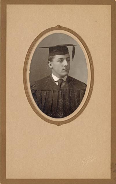 Senior portrait of Fred Luse, 1909. Luse graduated from Oregon Agricultural College in 1909 with a B.S. in Mechanical Engineering. During his undergraduate years, Luse held positions in several organizations including YMCA Vice President, Associate Editor of the NW Journal of English, and Captain of ROTC Company G. Following graduation, Luse served as a YMCA secretary in Fresno, California and Chicago, Illinois.