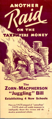 Campaign brochure in opposition to Zorn-Macpherson bill, 1932. This brochure was one of many published by proponents and opponents of this bill. The campaign was the largest and most expensive in Oregon educational history up to that time.