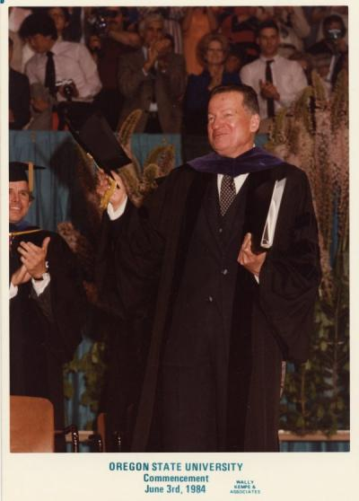 Robert W. MacVicar at his last commencement as President of Oregon State University, June 1984. MacVicar was president of Oregon State University from 1970-1986. MacVicar was also a professor of chemistry and tripled the size of the university's budget. During his years as president, the size of the campus increased by twenty-three additional buildings.