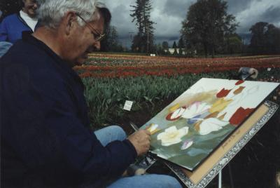"Tom Allen at a ""Paint Out"" demo at Greengable Gardens near Corvallis, Oregon, 2000."