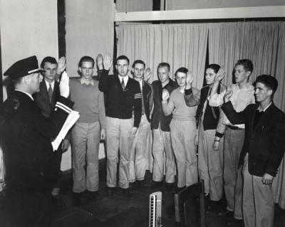 OSC students being sworn in as new cadets during World War II, ca. 1942.
