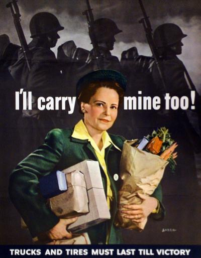 """I'll carry mine too!"" Poster issued by the Office of War Information, 1943."