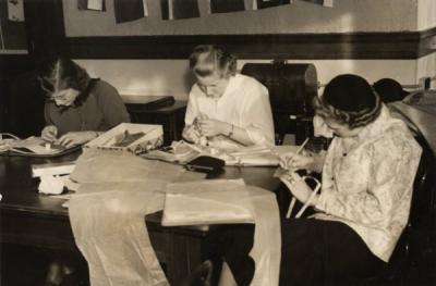 Home Economics students sewing, 1940s.