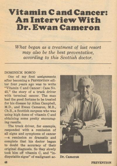 "Article: ""Vitamin C and Cancer: An Interview with Dr. Ewan Cameron"". Prevention, July 1979."