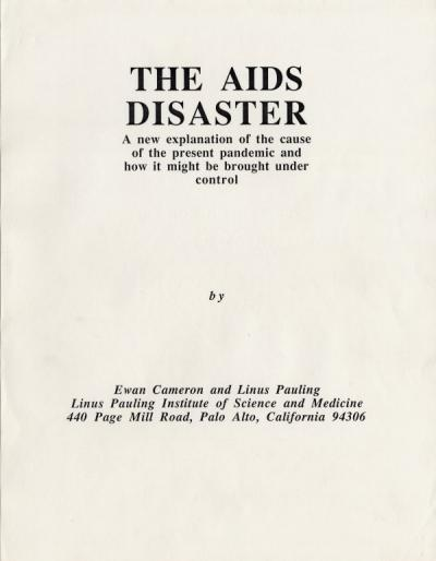 Ewan Cameron's unpublished manuscript of The AIDS Disaster, August 1988.