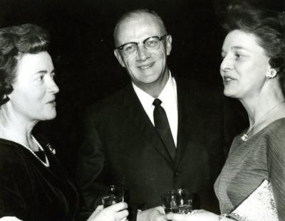Robert C. Ingalls with two unidentified women, ca. 1960s.