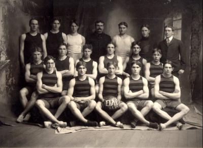 Group photo of the 1903-1904 OAC basketball team.