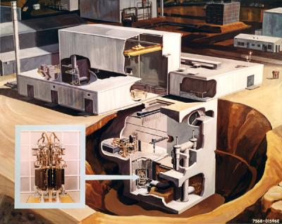 Artist's conceptual drawing of the SNAP-8 Developmental Reactor, 1963.
