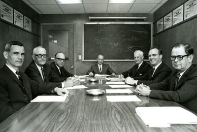 Members of the CH2M Board of Directors, ca. 1968. Pictured left to right are: Robert R. Adams, Ralph E. Roderick, Holly A. Cornell, James C. Howland, Thomas Burke Hayes, Fred E. Harem and Archie H. Rice.