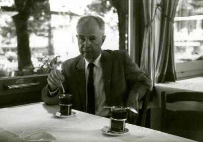 Fritz Marti at a cafe in Bern, Switzerland, 1963.