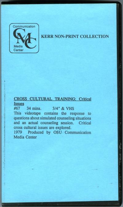 "Cover of a video titled ""Cross Cultural Training: Critical Issues,"" 1979."
