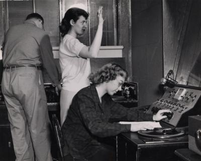 Students producing a radio program, ca. 1950s.