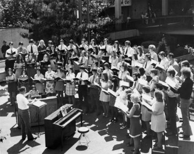 Choralaires singing at the Lloyds Center shopping mall, Portland, Oregon, 1972.