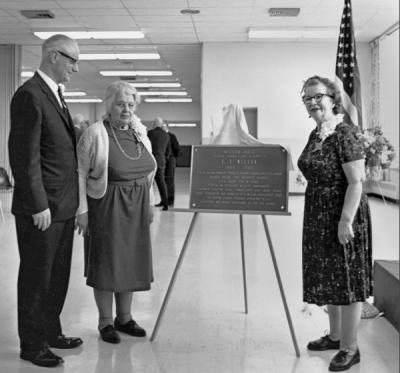 President James H. Jensen and Dean Vera Brandon (at left) at the dedication of Wilson Hall dormitory, 1965. Jensen served as President of Oregon State University from 1961-1969.