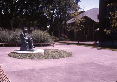 Sculpture of Martin Kukucin created by Ivan Mestrovic and located near the main entry to the Kerr Library, 1974.