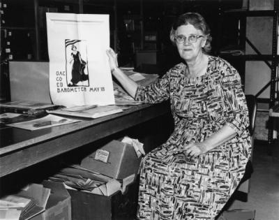 Harriet Moore, 1965. Moore was OSU's first University Archivist, assuming the role in 1961.