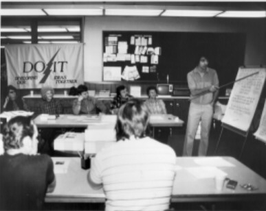 Productivity workshop, ca. 1983 Established in 1980 to promote and highlight the issue of productivity and efficiency among small and medium-size Oregon businesses, the Oregon Productivity Center (OPC) conducted productivity management workshops throughout the state like the one pictured here.