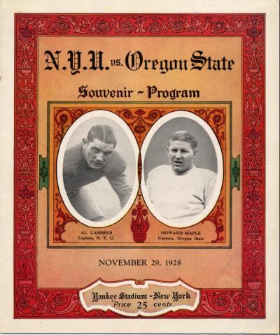 New York University vs. Oregon State College official program, November 1928.