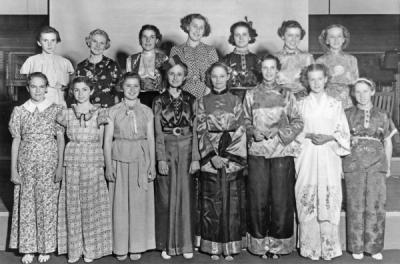 4-H girls' pajama Party at the 4-H summer school, ca. 1940.