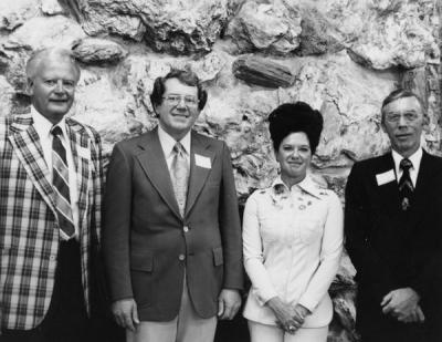"Trustees of the OSU Foundation, June 1976. From left: H. A. ""Andy"" Andersen, William Peckham, Mrs. Joan Austin and Robert R. Mitchell."