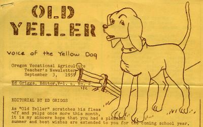 "Masthead from the September 3, 1959 issue of ""Old Yeller,"" the Oregon Vocational Agriculture Teacher's Newsletter."