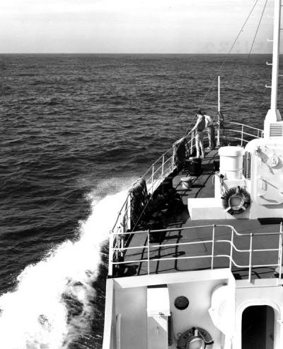 The Yaquina oceanography research vessel at sea, 1967.