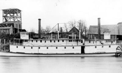 Paddlewheelers on the Willamette River at Corvallis wharves. On left is the Three Sisters and on right the Wm. M. Hoag, 1900.